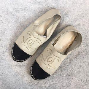 CHANEL leather slip on flat espadrilles
